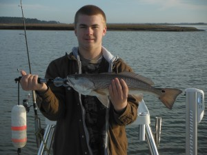 Hunter caught this nice Red on the corner of an oyster bar